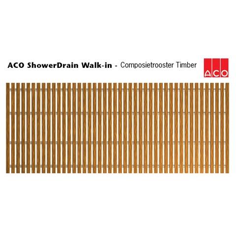 Aco Showerdrain Walk In rooster voor douchegoot 70 x 50 cm. timber
