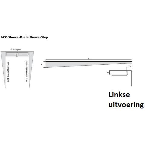 Aco Showerstep links 149 cm. afschot h=15 gepolijst rvs