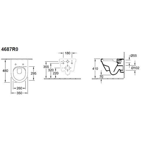 Villeroy & Boch Architectura wandcloset directflush compact 35x48 cm. wit