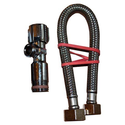 """Villeroy & Boch Viclean wateraansluitset met hoekstopkraan 1/2""""x3/8"""" 30cm. chroom"""