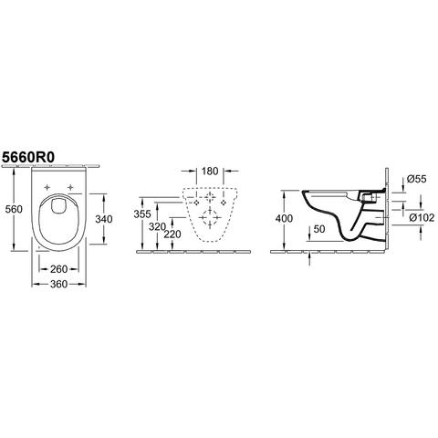 Villeroy & Boch O.novo wandcloset directflush 36x56 cm. ceramicplus wit