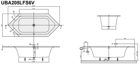 Villeroy & Boch Loop & Friends 6-hoek bad 205 x 90 cm. met hoekige binnenvorm wit