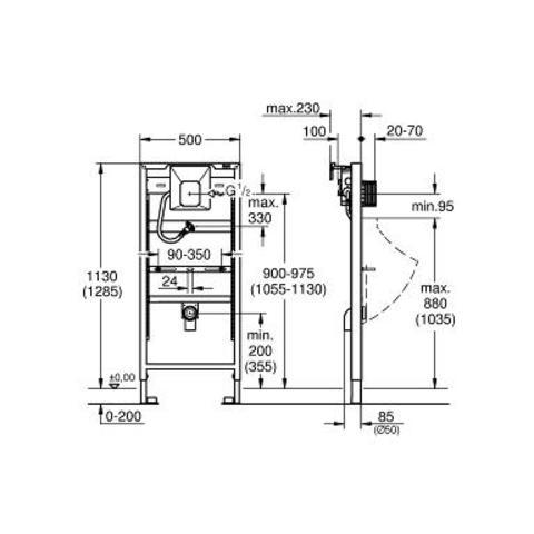 Grohe Rapid Sl urinoir inbouw element met rapido u z/afd.plaat