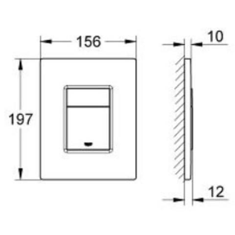 Grohe Skate Cosmopolitan bedieningsplaat antivingerafdruk 2-knops frontbed. titanium