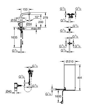 Grohe Red Combi Boiler.Grohe Red Mono Keukenkraan Met L Uitloop En Combi Boiler Chroom