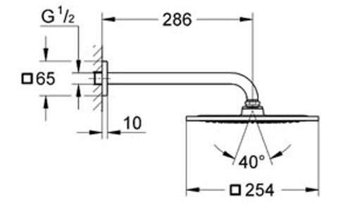 "Grohe Rainshower F-Series hoofddoucheset 10"" met douchearm 286 mm. chroom"