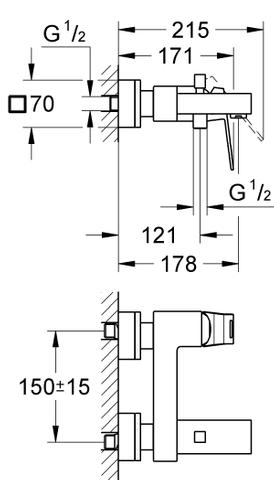 Grohe Eurocube badkraan 15 cm. m/omstel chroom