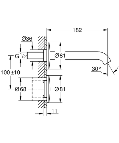 Grohe Essence E inbouw electr.wandkraan compleet ir 230v z/menging chroom