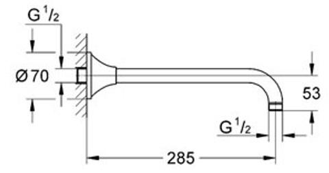 Grohe Grandera douchearm 286 mm. chroom