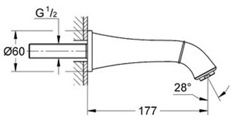 Grohe Grandera baduitloop wand chroom