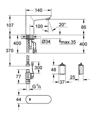 Grohe Euroeco Cosmopolitan E electronische wastafelkraan batterij chroom