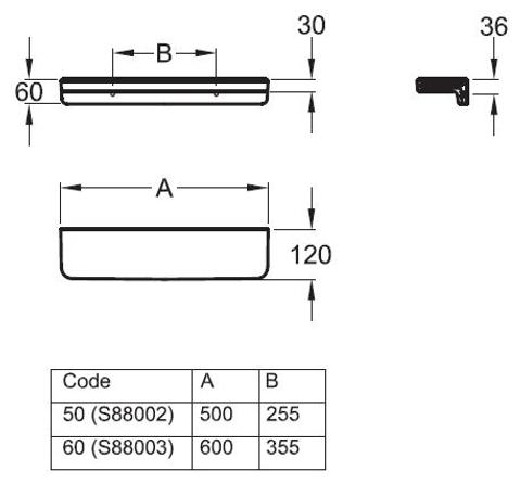 Geberit 300 Basic planchet 50cm wit