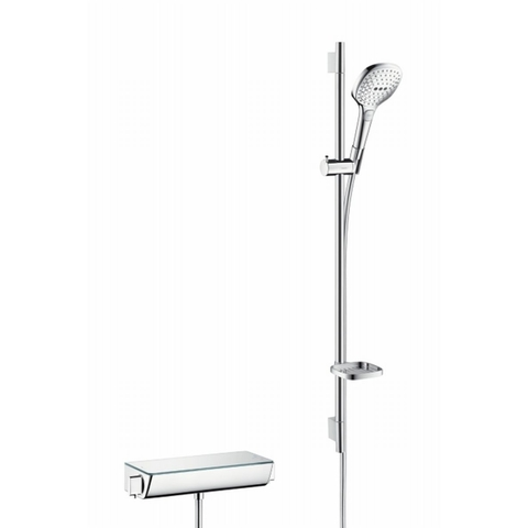 Hansgrohe Raindance Select E glijstangset 90cm - met Ecostat select thermostaat - handdouche 120 - wit-chroom