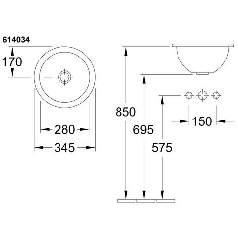 Villeroy & Boch Loop opbouw wastafel 34cm. wit