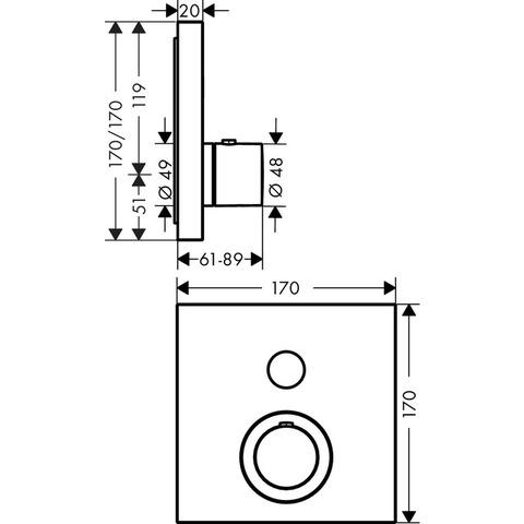 Axor Showerselect Square afdekset thermostaat met stopkraan voor 1 functie chroom
