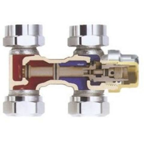 """Heimeier Vekolux h-onderblok 2-pijps recht 1/2"""" 50mm"""