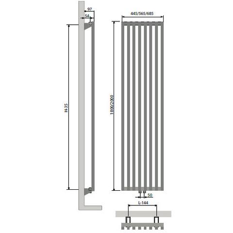 Vasco Vertiline Vc radiator 445x1800 mm. n8 as=0099 871w antraciet m301