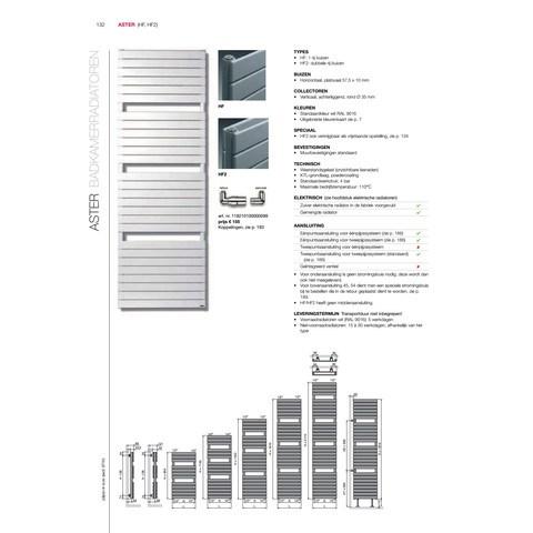 Vasco Aster Hf radiator 600x1810 mm. n27 as=1188 1006w wit ral 9016