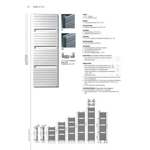 Vasco Aster Hf radiator 600x1450 mm. n21 as=1188 812w wit ral 9016
