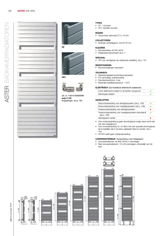 Vasco Aster Hf radiator 600x1150 mm. n16 as=1188 654w wit ral 9016