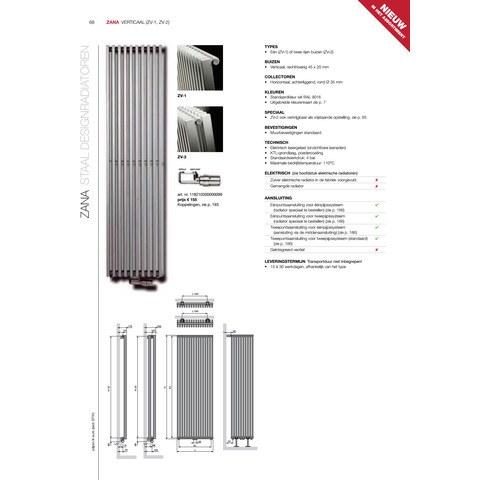 Vasco Zana Zv-1 radiator 624x1800 mm. n16 as=0066 1719w wit ral 9016