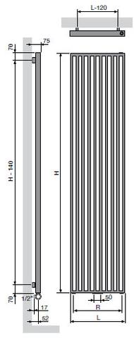 Vasco Arche Vv radiator 670x1800 mm. n14 as=1188 1496w wit ral 9016