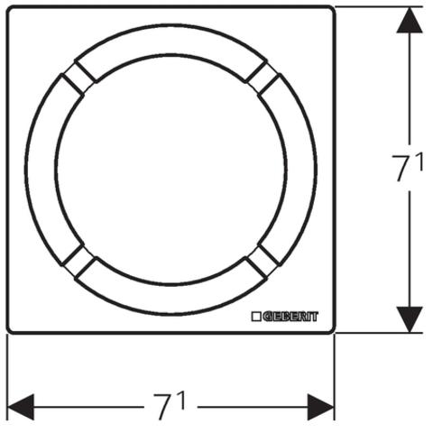 Geberit  rooster 8x8cm. voor doucheput binnen cirkel rvs