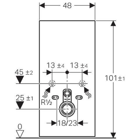 Geberit Monolith module voor wandcloset h101 glas umbra-aluminium