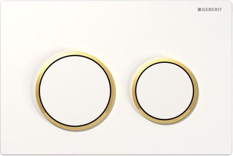 Geberit Omega 20 bedieningsplaat 2-knops front/planchetbediening wit-goud-wit