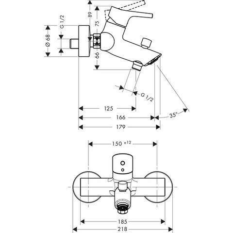 Hansgrohe Talis S badkraan uitloop 166 mm. chroom