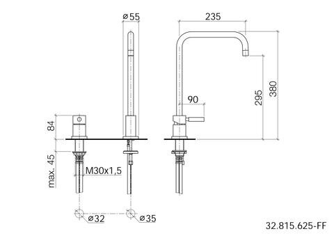 Dornbracht Meta 02 2-gats keukenkraan sprong 235 mm. chroom