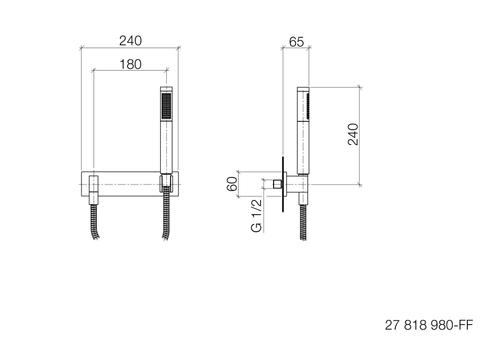 Dornbracht Symetrics douchegarnituur met afdekplaat chroom
