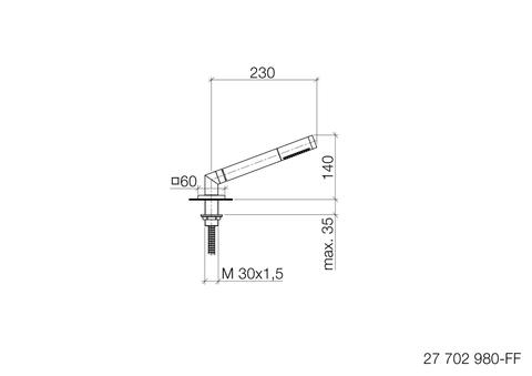 Dornbracht Symetrics douchegarnituur voor badrandmontage chroom