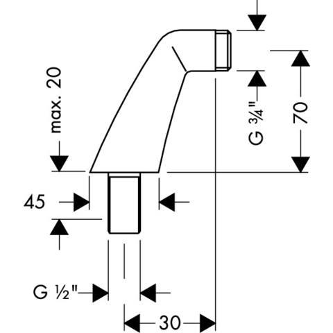 """Hansgrohe  set staande koppeling 1/2""""x3/4"""" bu. chroom"""