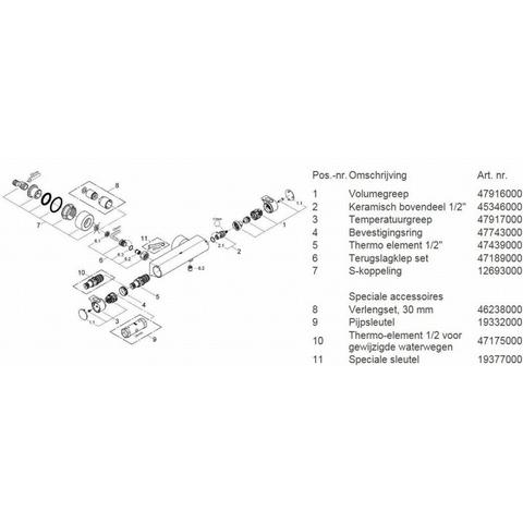 Grohe Grohtherm 2000 douchethermostaat 15 cm. met koppelingen chroom