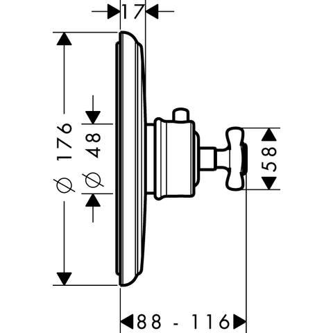 Axor Montreux afdekset voor thermostaat high flow geborsteld nikkel