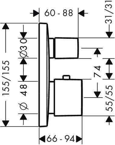 Hansgrohe Puravida afdekset voor thermostaat met stopkraan chroom