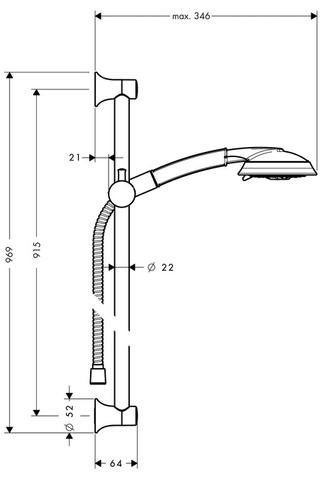 Hansgrohe Raindance Classic Air doucheset met 3jet air/unica c glijstang 90 cm. chroom