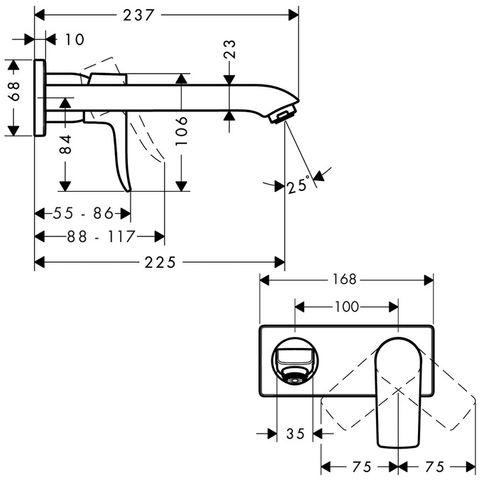 Hansgrohe Metris inbouw wand wastafelkraan uitloop 22,5 cm. chroom