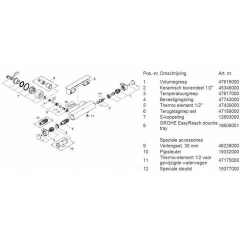 Grohe Grohtherm 2000 douchethermostaat 15 cm.met koppelingen en tray chroom