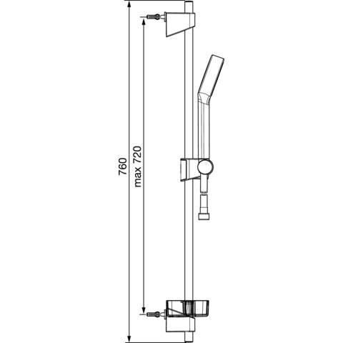 Hansa Hansabasicjet 1 glijstangset 72cm. handdouche 1 straal slang 175 chroom