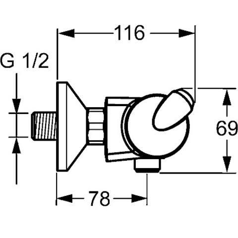 Hansa Fit douchethermostaat met s-koppelingen chroom