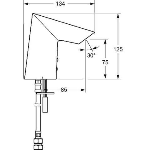 Hansa Fit electronische wastafelkraan 85 mm. met batterijen chroom