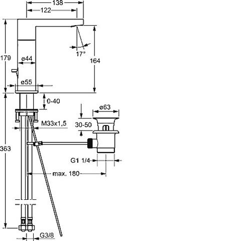Hansa Stela wastafelkraan met waste-zijbediening uitloop 123mm chroom