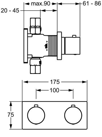 Hansa Matrix afdekset voor badthermostaat chroom