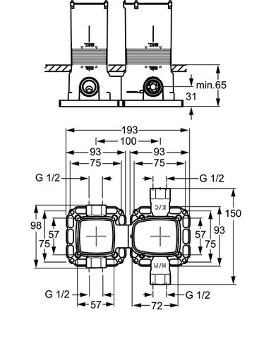 Hansa Matrix basisgarnituur voor badthermostaat