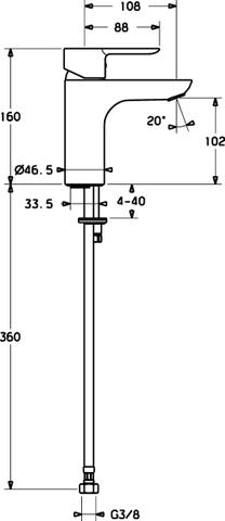 Hansa Ligna wastafelkraan hoogte 160 mm. chroom