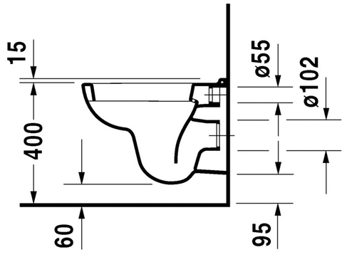 Duravit D-Code wandcloset compact diepspoel wit