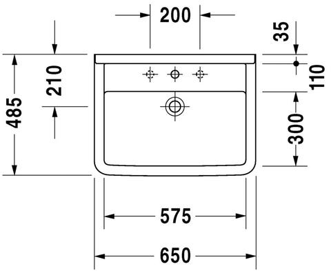 Duravit Starck 3 wastafel 65 x 48,5 cm. wit