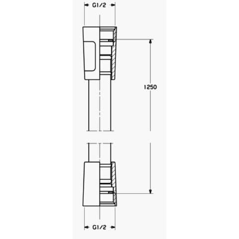 Hansa  silverjet doucheslang 125 cm. chroom